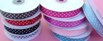 "1-1/2"" POLKA DOT grosgrain ribbon-25yds/roll, HOT PINK/WHITE POLKA DOT"