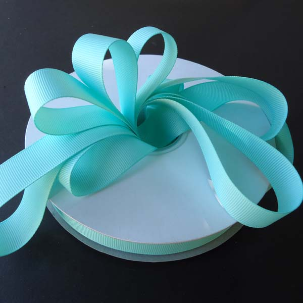 "5/8"" grosgrain ribbon-50yds/roll, AQUA"