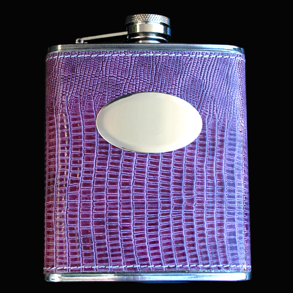 stainless steel hip flask, 7OZ, LEATHER PURPLE