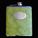 stainless steel hip flask, 7OZ, LEATHER GREEN