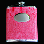 stainless steel hip flask, 7OZ, LEATHER ROSE