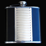 stainless steel hip flask, 8OZ, SIDE LEATHER