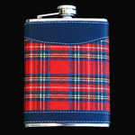 stainless steel hip flask, 8OZ, CLOTH RED