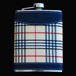 stainless steel hip flask, 8OZ, CLOTH BLUE