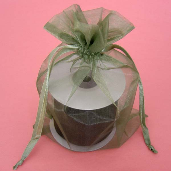 "5.5x1.5x10.4"" square bottom organza bag-10/pk, MOSS GREEN"