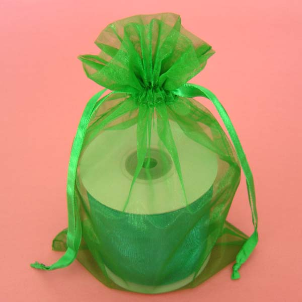 "6.5x15"" organza bag-10/pk, EMERALD"