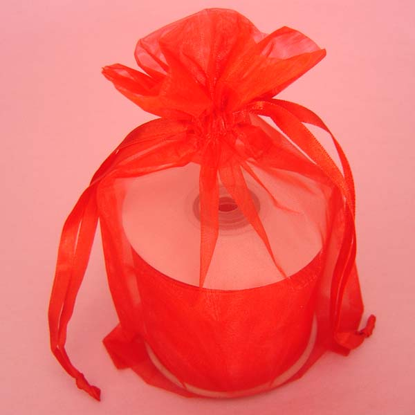 "5.5x1.5x10.4"" square bottom organza bag-10/pk, RED"