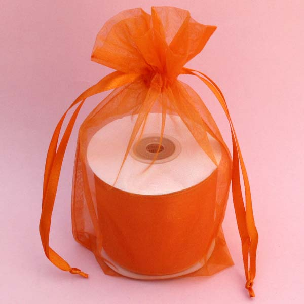 "3x4"" organza bag-30/pk, ORANGE"