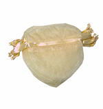 "4x3-1/2"" HEART SHAPED organza bag-30/pk, IVORY"