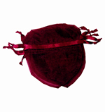 "4x3-1/2"" HEART SHAPED organza bag-30/pk, WINE"