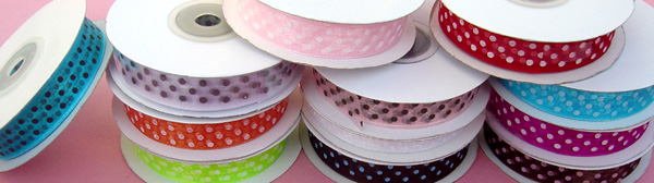 "5/8"" POLKA DOT organza ribbon-25yds/roll, RED/WHITE POLKA DOT"