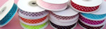 "7/8"" POLKA DOT organza ribbon-25yds/roll, WHITE/BLACK POLKA DOT"