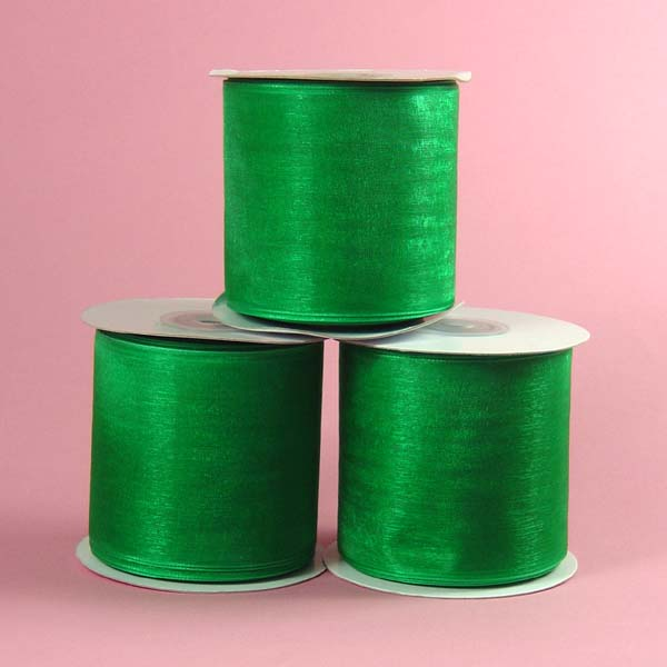 "2-3/4"" organza ribbon-25yds/roll, EMERALD"