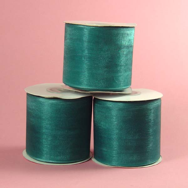 "2-3/4"" organza ribbon-25yds/roll, JADE"