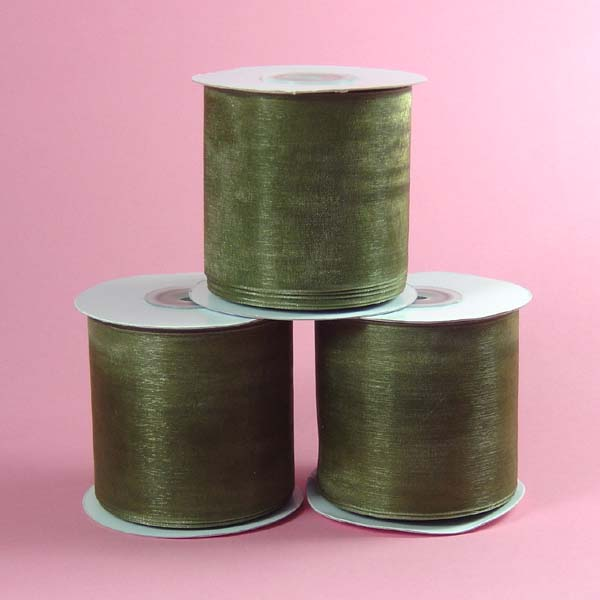 "2-3/4"" organza ribbon-25yds/roll, OLD WILLOW"