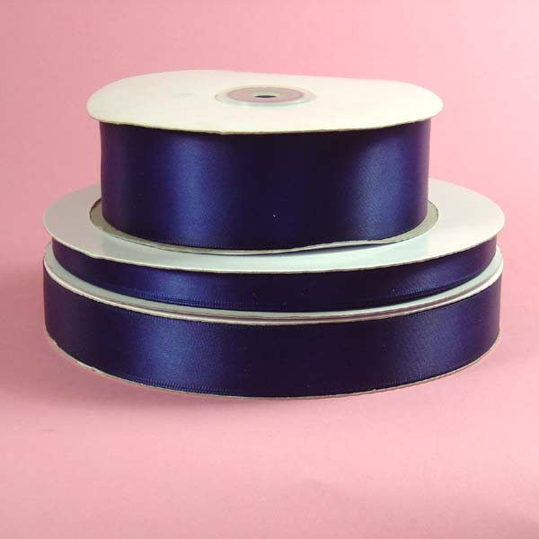 "5/8"" DOUBLE FACED satin ribbon-100yds/roll, NAVY BLUE"