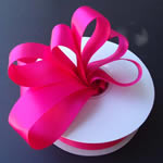 "3/8"" DOUBLE FACED satin ribbon-100yds/roll, FUCHSIA"