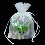 "4"" X 6"" EMBROIDERED LACE BEADED ORGANZA WEDDING FAVOR BAG-24/PK, WHITE"