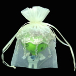 "4"" X 6"" EMBROIDERED LACE BEADED ORGANZA WEDDING FAVOR BAG-24/PK, IVORY"