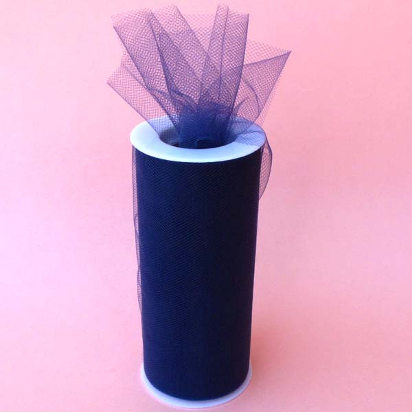 "6"" tulle fabric-100YDS/SPOOL, NAVY"