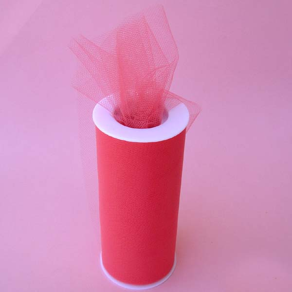 "6"" tulle fabric-100YDS/SPOOL, CORAL"