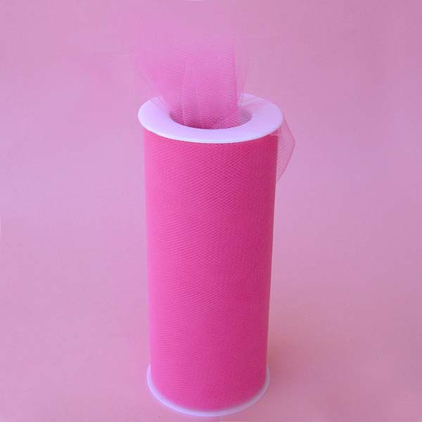 "6"" tulle fabric-100YDS/SPOOL, SHOCKING PINK"